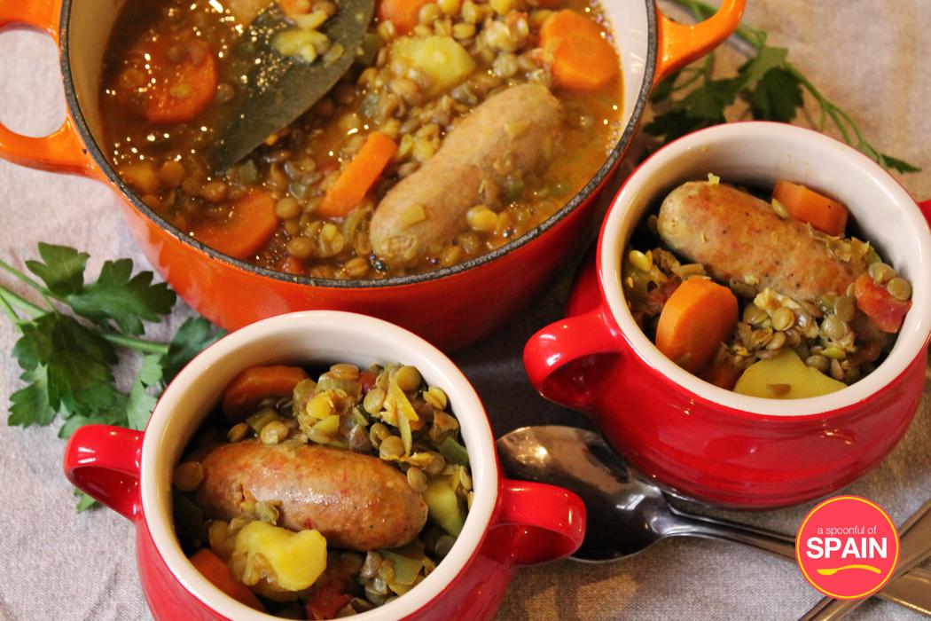 Lentils with chorizo stew