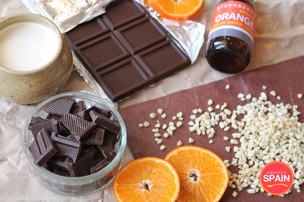 Chocolate Truffles with Orange Blosson Water and Almonds