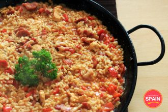 Rice with chorizo and pancetta